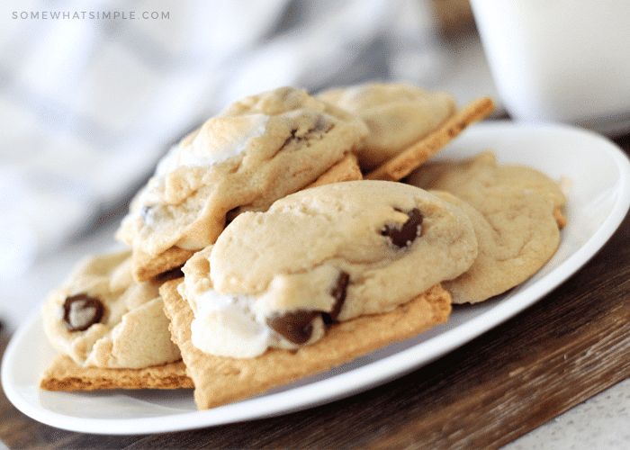 a stack of s'mores cookies