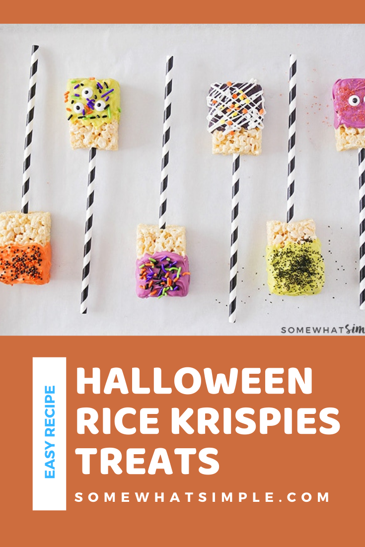 With just a few basicingredients and 30 minutes of your time, you can make these fun chocolate dipped Halloween Rice Krispie Treats that are both cute and simple! They're the perfect dessert to serve at your Halloween party or to enjoy as an afternoon snack. via @somewhatsimple