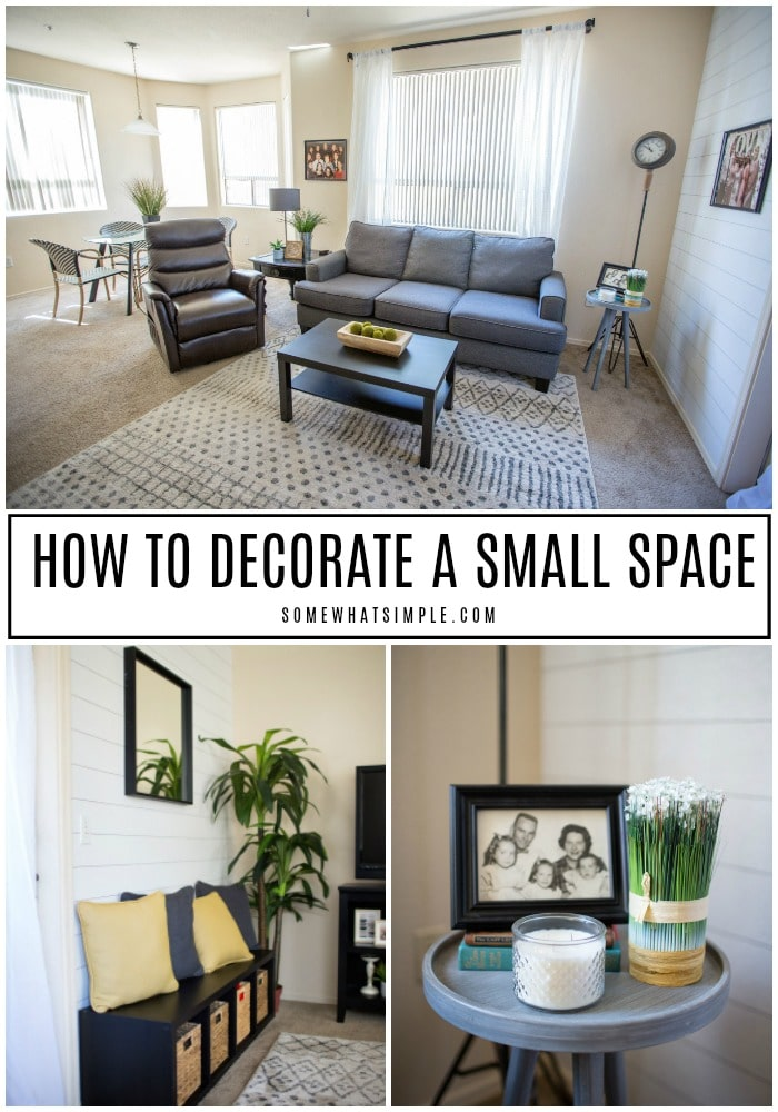 A small space doesn't have to be cramped and crowded! Even the smallest apartments can be cozy, inviting and functional with these 10 apartment decorating tips and tricks! #smallspaces #apartmentdecor #apartmentdecorating #howtodecorate #design  via @somewhatsimple