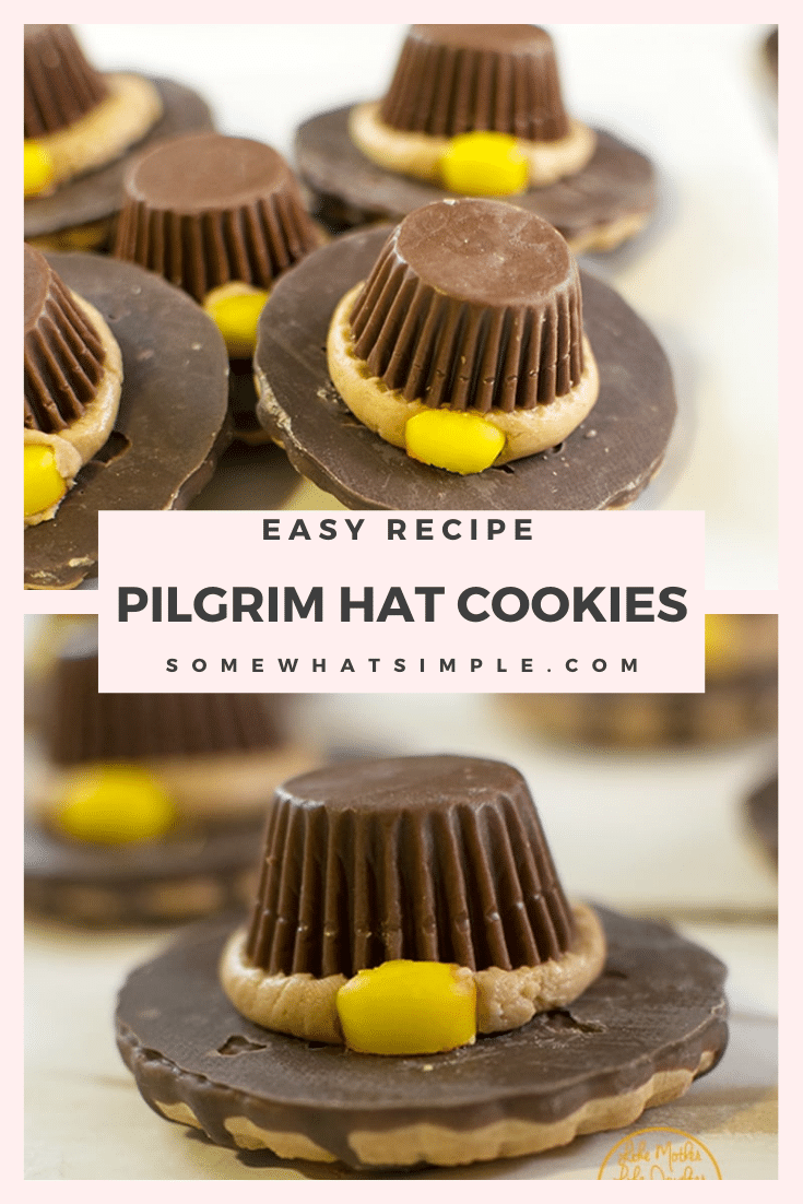 These pilgrim hat cookies are a fun dessert idea for Thanksgiving. They don't require any baking so they are impossible to mess up. In just a few easy steps you'll be able to make a plate full of these delicious and adorable cookies. They're the perfect cookie recipe for Thanksgiving! via @somewhatsimple