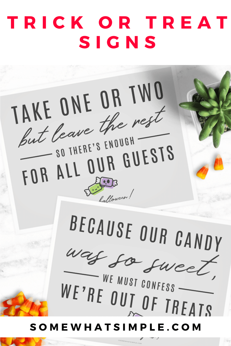 We love these simple Halloween Candy Signs! Just print and place, and let Trick or Treaters know how many pieces to take, and when you're out of candy! Download your free copies today! You'll get both the Take One and the Out Of Candy signs. #outofcandysign #halloweencandysign #nocandysign #signtoleaveoutwithhalloweencandy #halloweencandyfreeprintable via @somewhatsimple
