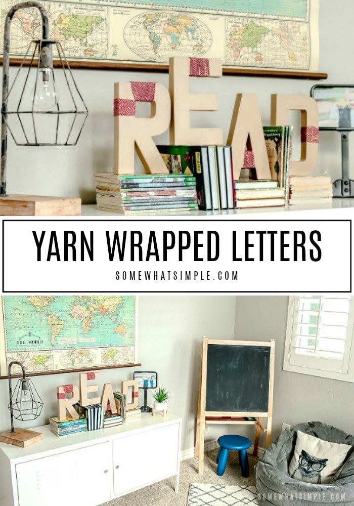 Learn how to make yarn wrapped letters with this easy step-by-step tutorial. This fun project can be made in under 10 minutes! #yarnwrappedletters #monogram #letters #yarn #howtomakeyarnwrappedletters #easycraft via @somewhatsimple