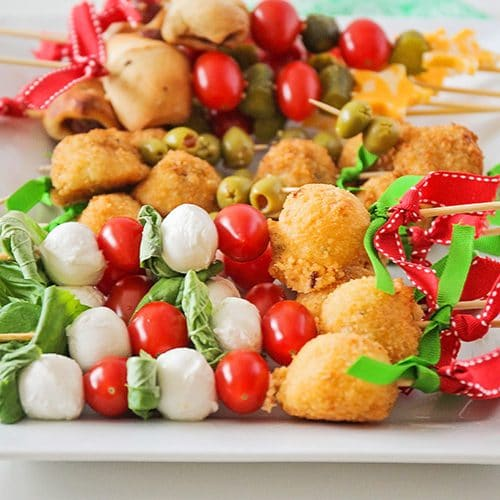 holiday decorated antipasto skewers on a tray