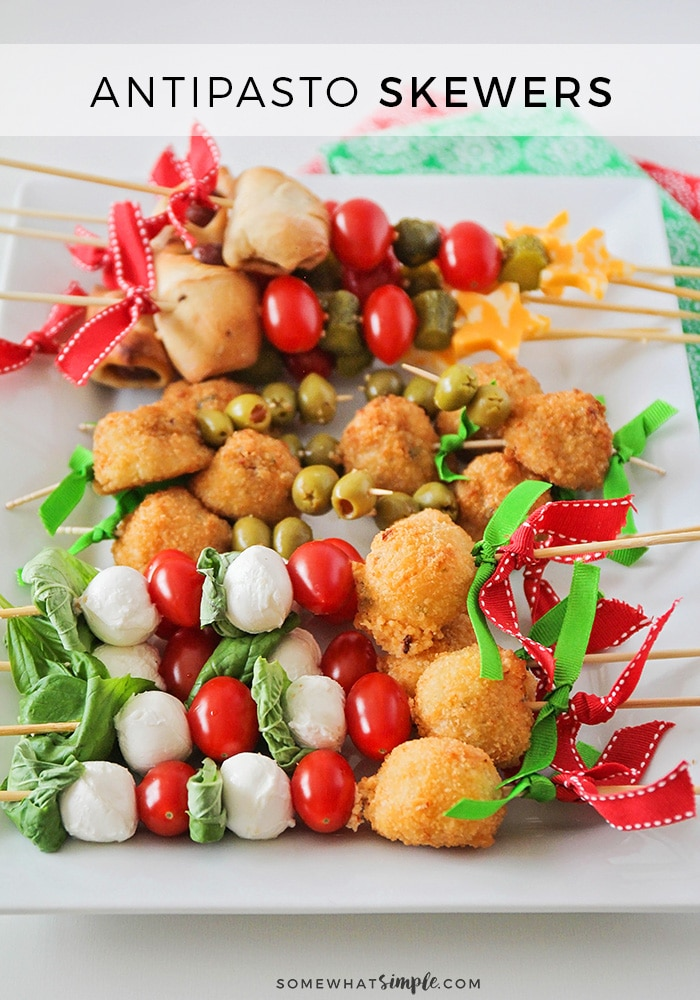 These festive and delicious antipasto skewers are so quick and easy to make, and sure to be the star of your next celebration! #skewers #kabobs #antipasto #appetizer #christmas #holiday via @somewhatsimple