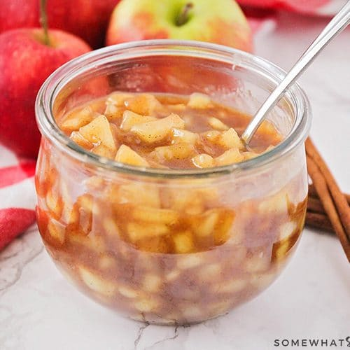 cinnamon apples in a jar