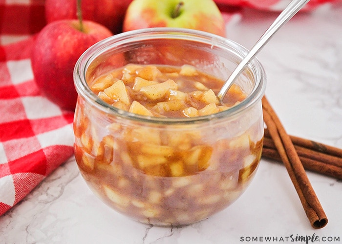 cinnamon apples in a jar