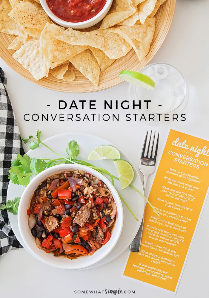 Enjoy a delicious dinner with some good conversation starters, and relax together at home with a simple date night in! #datenight #conversationstarters #goodconversationstarters #datenightathome #funconversationstarters via @somewhatsimple