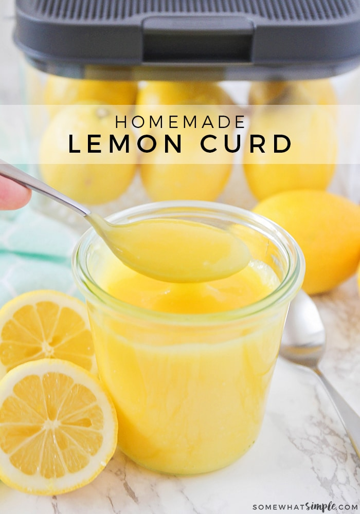This homemade lemon curd is a delicious mixture of tart and sweet! It's perfect on waffles, pancakes, and ice cream, and adds a sweet burst of lemon flavor!