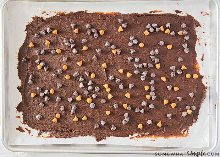 brownie brittle spread over a baking pan
