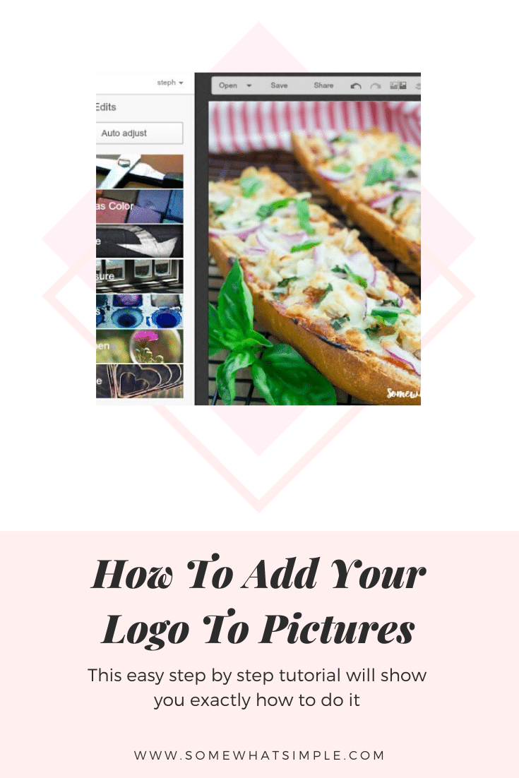 If you're new to blogging or the online business world, one question you might have is how to add a logo to photos. Today we'll show you! #howtoaddalogotophotos #photograph #photographytips #photoshop #tutorial #photoediting via @somewhatsimple