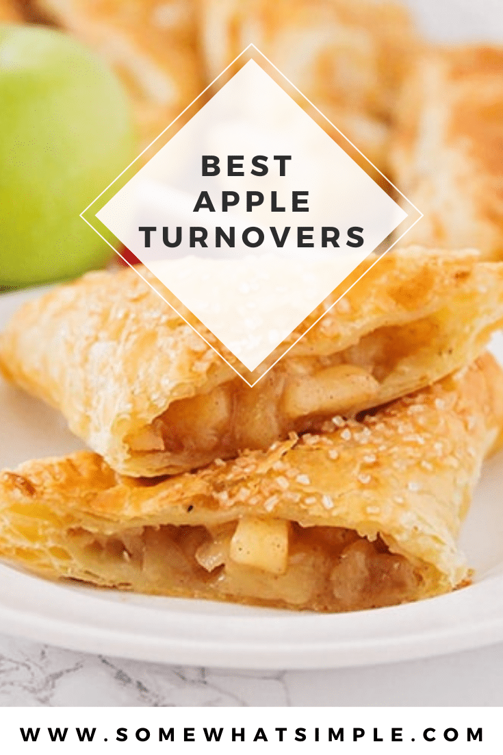 This easy apple turnover recipe sure makes for a delicious and easy to make treat! A sweet cinnamon apple filling encased in flaky puff pastry, your tastes buds are about to fall in love! These apple turnovers are perfect for breakfast, a snack or delicious dessert! via @somewhatsimple