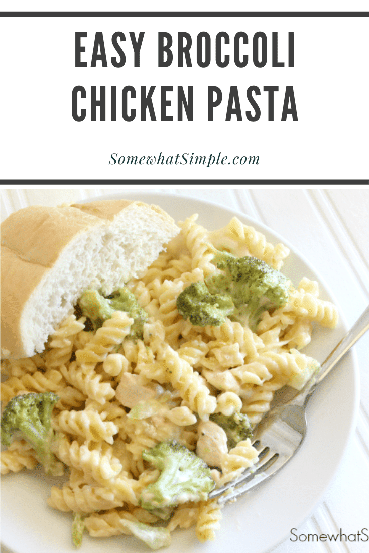 This cheesy chicken broccoli pasta casserole is the perfect recipe for a chaotic night. Made with pasta, tender chicken, broccoli and loads of delicious cheese, this casserole will quickly become one of your family's favorite dinners! #broccolichickenpasta #broccolichickenpastabake #broccolichickenpastacasserole #broccolichickenpastarecipe #chickenbroccolicasserole via @somewhatsimple