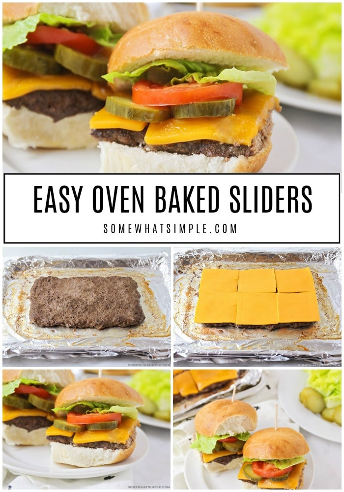 These oven baked sliders are a simple twist on a classic recipe.  Making sliders in the oven is a great way to enjoy a delicious hamburger all year round.  #easyrecipe #dinner #bbq #ovenbakedsliders #slidersintheoven via @somewhatsimple