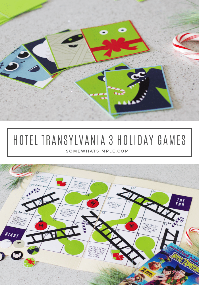 Grab the kids and get ready for a fun family game night! We've created printable versions of some family-favorite board games, designed after our love for a new family-favorite movie - HOTEL TRANSYLVANIA 3! via @somewhatsimple