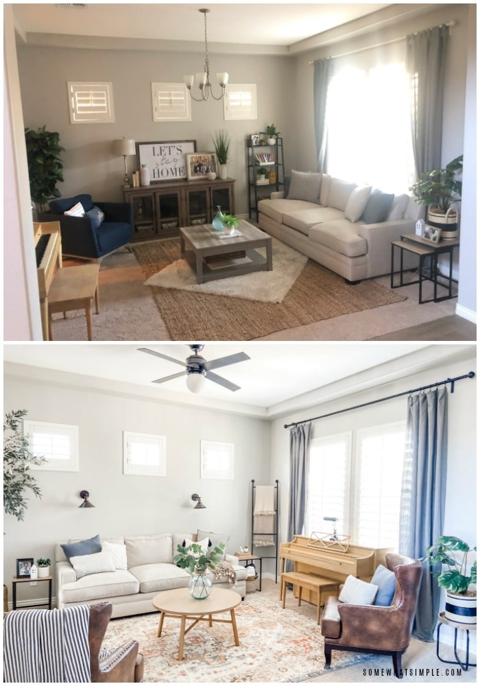 a before & after picture of a living room redesign