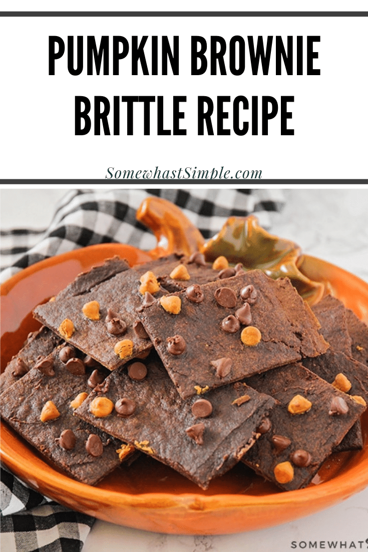 Pumpkin brownie brittle is an easy fall dessert recipe that will satisfy your sweet tooth. The rich chocolate flavor with a crisp cookie crunch is simply irresistible. #pumpkinbrittle #pumpkindessertidea #pumpkinbrittlerecipe #homemadebrowniebrittle #pumpkinspicebrowniebrittle via @somewhatsimple