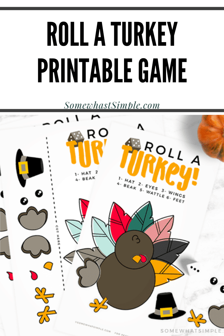 This Roll a Turkey Game is so easy to prepare and play. Play it casually, or raise the stakes to make it a fun family game for all ages! This printable game is perfect for players of all ages! #rollaturkey #rollaturkeygame #rollaturkeydicegame #rollaturkeydicegameprintable via @somewhatsimple