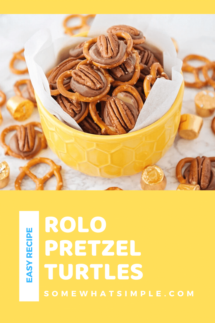 Rolo pretzel turtles are a the perfect salty, sweet and nutty combo. Made with pretzels, Rolo candy and delicious pecans, there is nothing better than these delicious treats! These delicious treats are easy to make and perfect for when you're hosting a party! They're one of my favorites to make during the holiday season. via @somewhatsimple