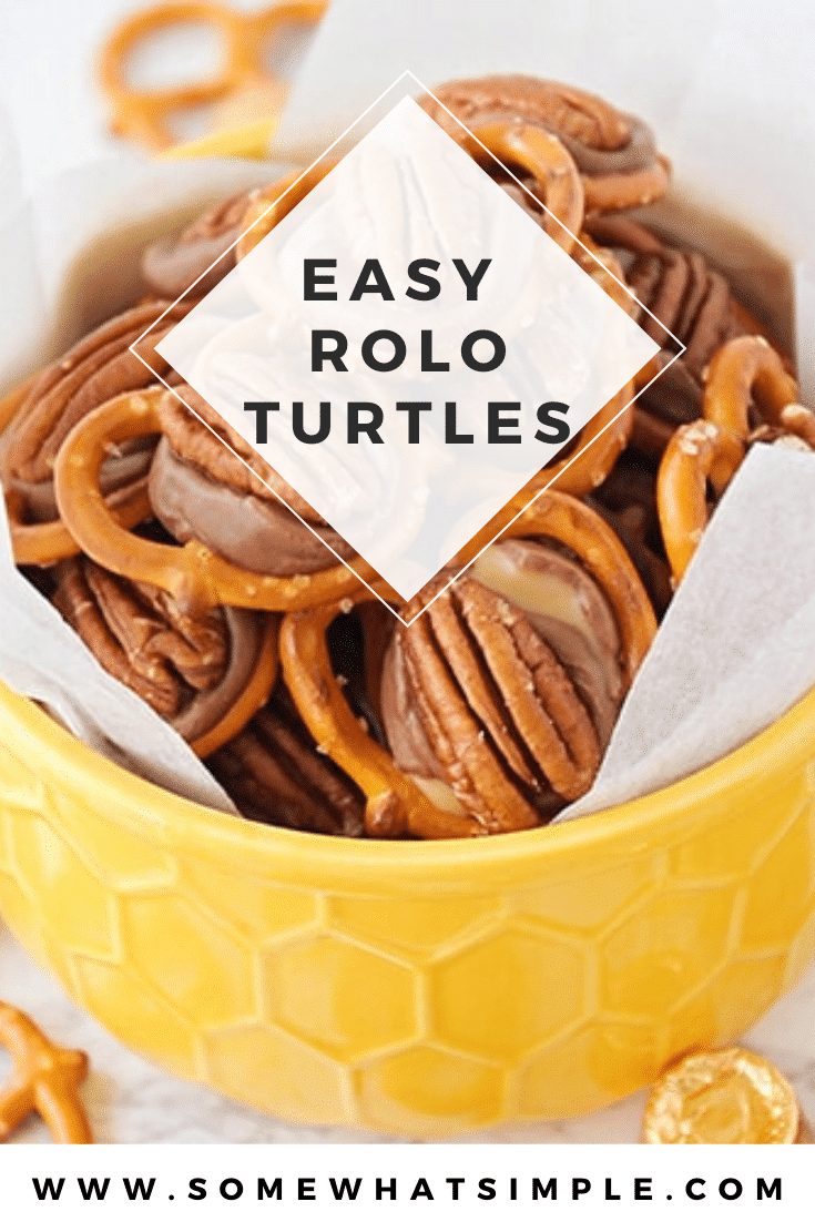 Rolo pretzel turtles are a the perfect salty, sweet and nutty combo. Made with pretzels, Rolo candy and delicious pecans, there is nothing better than these delicious treats! These delicious treats are easy to make and perfect for when you're hosting a party! #rolopretzels #roloturtles #rolopretzelrecipe #pretzelrolopecan #pretzelsandrolos via @somewhatsimple