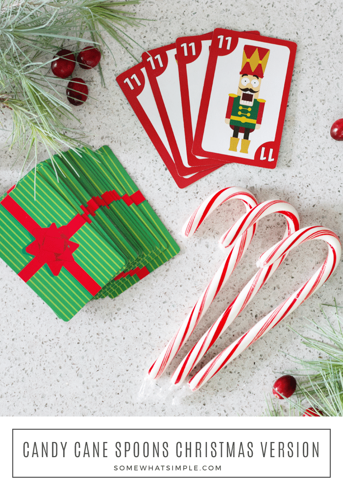 This Candy Cane Spoons Game is a festive twist on a classic card game. It's a great activity for large groups or small gatherings - and it'ssuper easy to learn, which makes it fun for all ages! Grab your kids - it's time to teach them how to play spoons! #spoonsgame #howtoplayspoons #spoonsrules #spoonscardgame #candycanespoons via @somewhatsimple