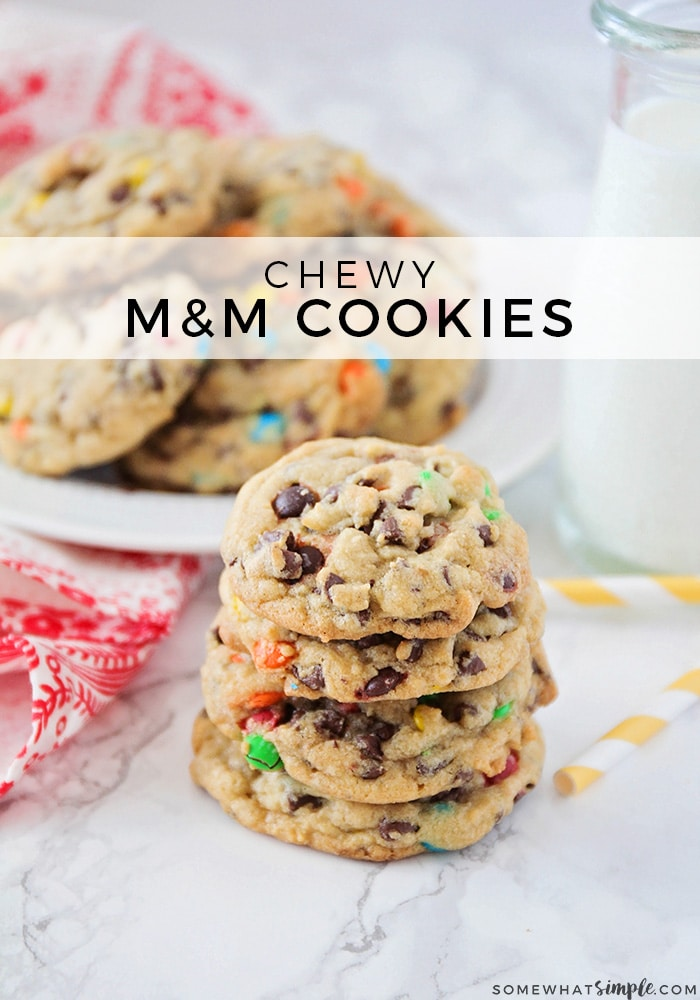 These soft and chewy M&M cookies are super delicious and easy to make! via @somewhatsimple