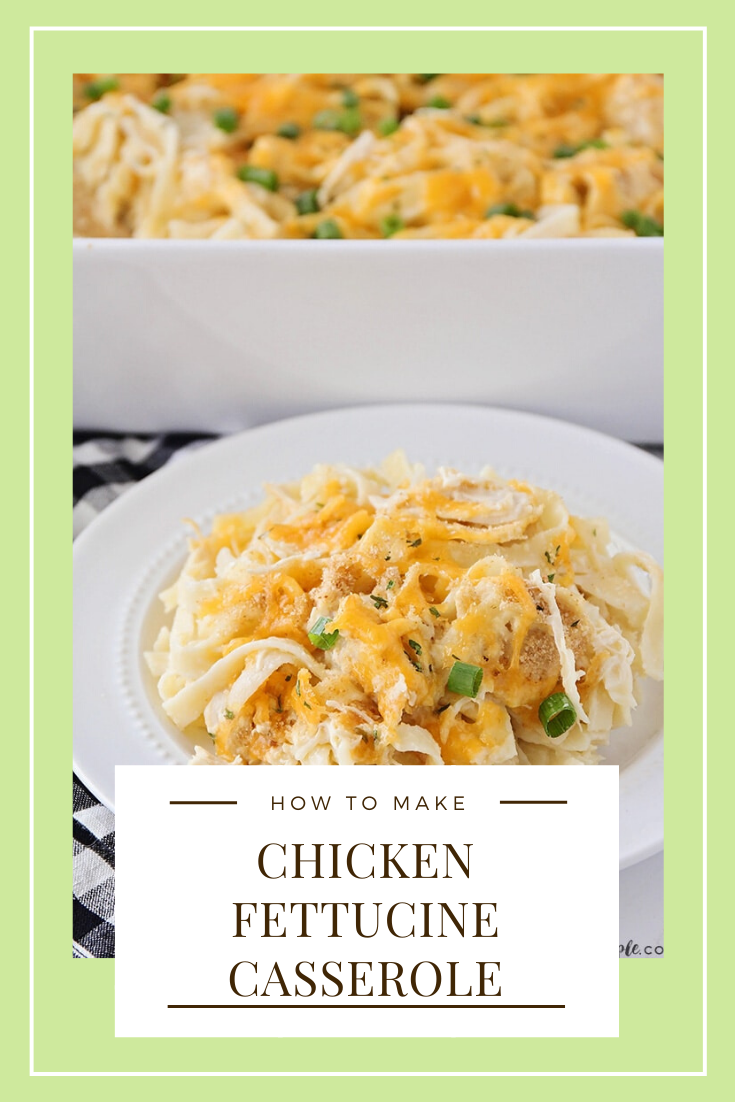 This chicken tetrazzini recipe is an easy family dinner that tastes delicious!  This simple fettucine casserole recipe is easy to make and perfect for those nights when you need an easy dinner idea. #chickentetrazzini #chickentetrazzinirecipe #easychickentetrazzini #chickenfettucine #chickenfettucinecasserole #howtomakechickentetrazzini #freezermeal via @somewhatsimple
