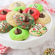 blossom cookies decorated for Christmas