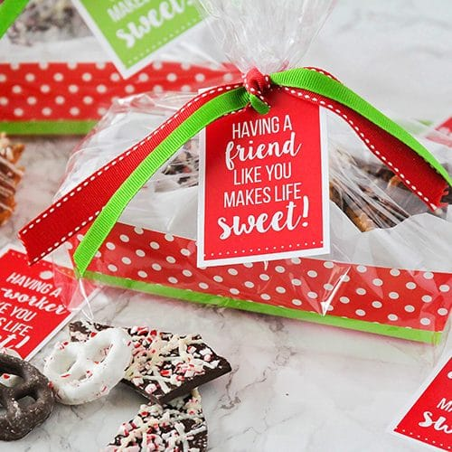 christmas gift baskets with treats inside