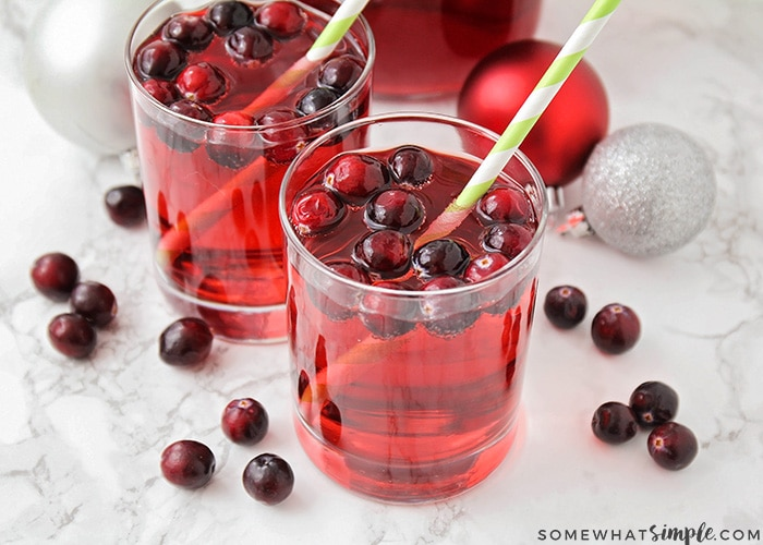 2 glasses of an Easy Christmas Punch Recipe