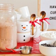 all of the supplies and ingredients for a hot chocolate bar