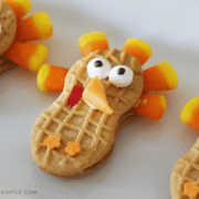 nutter butter turkey cookies on a serving tray
