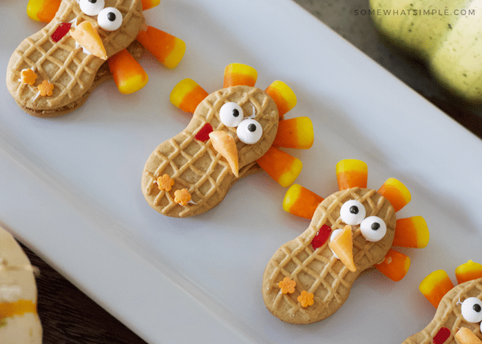 turkey cookies made with nutter butters and candy