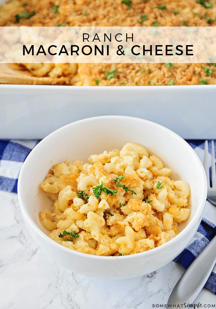 Baked macaroni and cheese is tasty twist on a classic comfort food recipe!  Tender macaroni, topped with your favorite cheese and bread crumbs will quickly become a family favorite. #bakedmacaroniandcheese #easybakedmacaroniandcheese #bakedmacaroniandcheeserecipe #macaroniandcheese #howtobakemacaroniandcheese via @somewhatsimple
