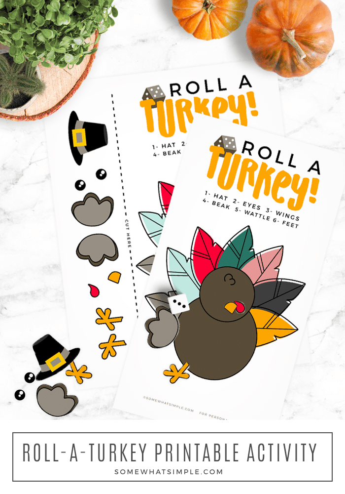 roll a turkey activity game printable thanksgiving fall autumn families kids teachers school die