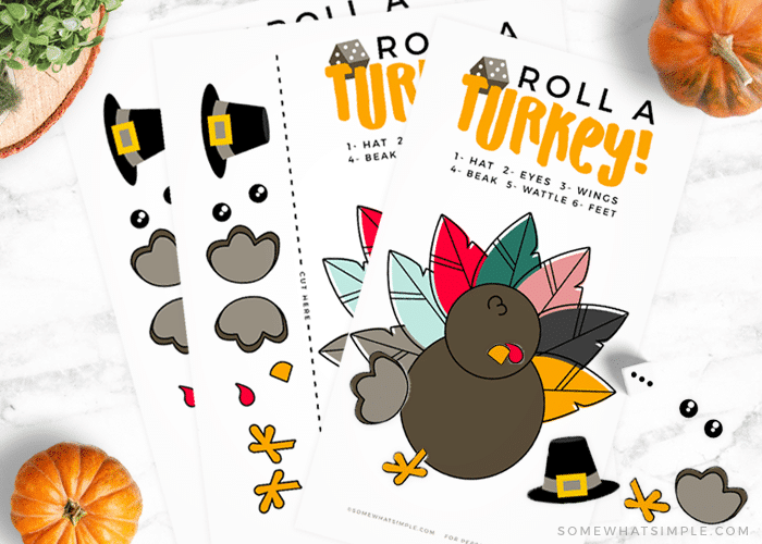 roll a turkey fun activity game printable thanksgiving fall autumn families kids teachers school die