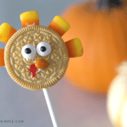 an Oreo cookie decorated to look like a turkey