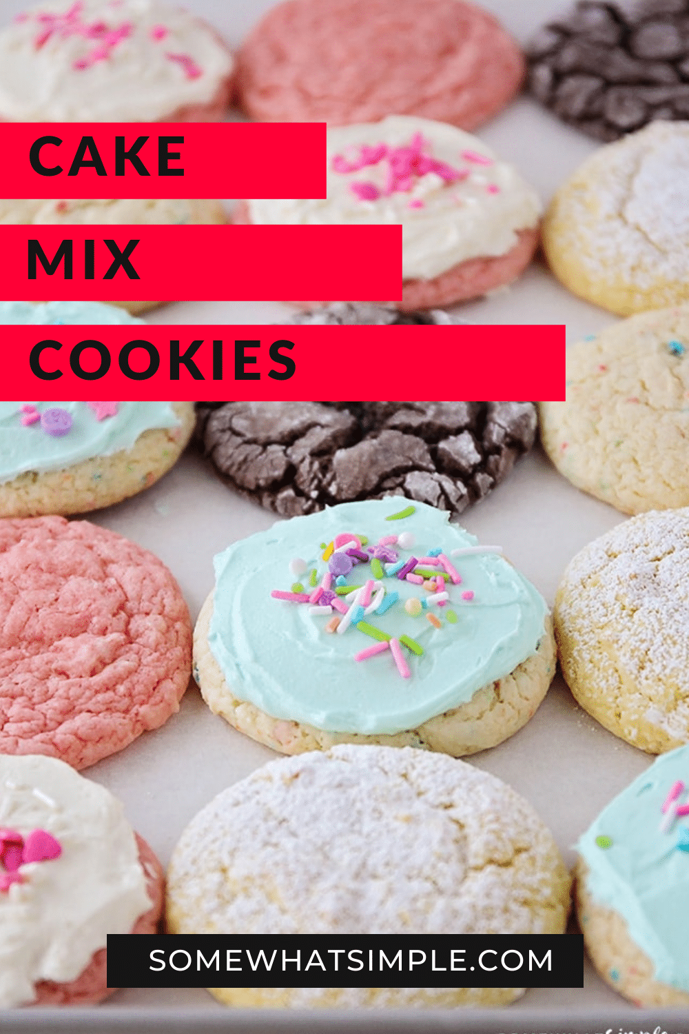 Cake mix cookies are soft and chewy and super delicious! Plus, they only require 3 ingredients making them essentially a no-fuss fantastic treat. This cookie recipe is so easy, it'll look and taste like you've been in the kitchen all day but they will only take you minutes to make. With 10 different flavors to choose from, you're going to find one you love! via @somewhatsimple