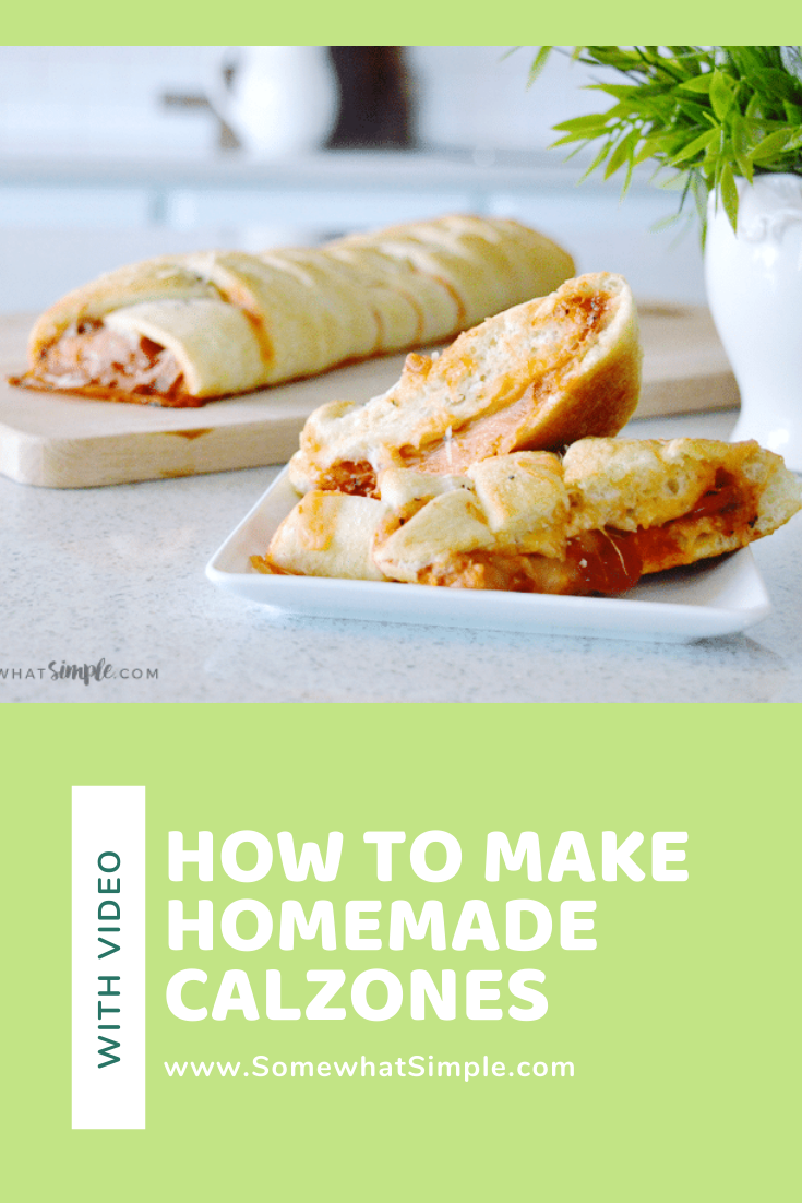 This Easy Calzones Recipe will take your favorite pizza and wrap it into something super tasty and impressive! Making calzones has never been so simple! #pizza #calzone #recipe #dinner #easy #homemadecalzones #easycalzonerecipe #howtomakeacalzone #video via @somewhatsimple