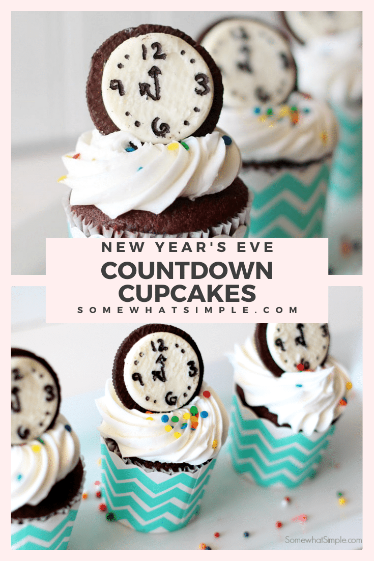 These new year's eve countdown cupcakes are a festive way to ring in the new year. Made with everyone's favorite Oreo cookies, your party guests will absolutely love these cupcakes! These are the perfect dessert to serve on New Year's Eve. via @somewhatsimple