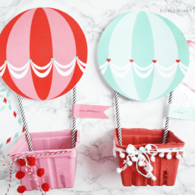 Hot Air Balloon Mailbox Valentine Printables