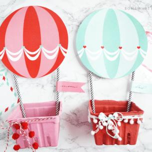 Hot Air Balloon Mailbox Valentine Printables