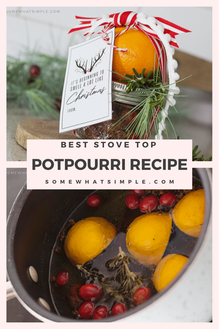 This Christmas stove top potpourri is the best homemade recipe you'll ever make. It's simple to make and your house will smell amazing all day long! Made with the delicious combination of citrus, cinnamon and other delicious scents. This also makes the perfect gift this holiday season! via @somewhatsimple