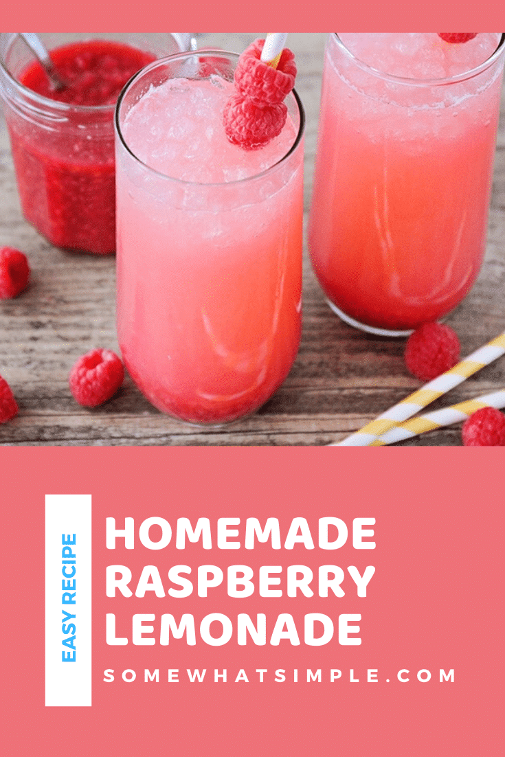 This sweet and tangy made from scratch raspberry lemonade is so refreshing and delicious. Made with fresh raspberries, it's the perfect drink to enjoy all summer long! #raspberrylemonade #simpleraspberrylemonade #raspberrylemonaderecipe #drink #summer via @somewhatsimple