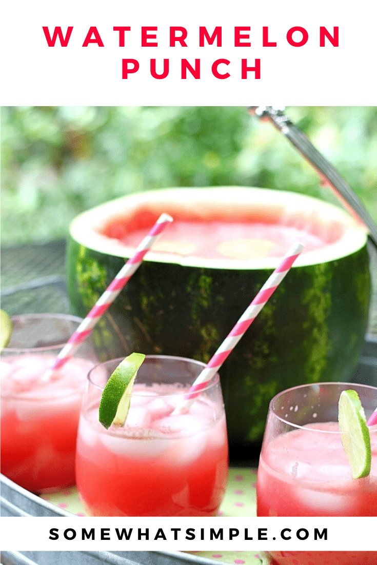 This easy watermelon punch recipe is a refreshing way to enjoy the summer.  Make this drink even more fun to serve by turning the watermelon you used to make the drink into a fun serving bowl! #drinks #drinkrecipes #watermelonpunch #watermelonbowl #bbq #watermelon via @somewhatsimple