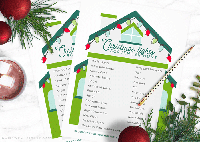 image relating to Free Printable Christmas Decorations identified as Xmas Lighting Scavenger Hunt + Cost-free Printable - To some degree