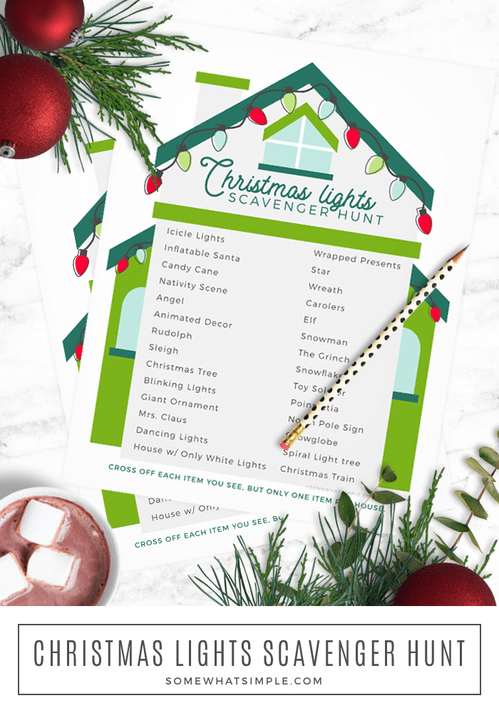 Planning a Christmas Lights Scavenger Hunt has never been easier! Grab our free printable and get ready for a night of festive fun! via @somewhatsimple
