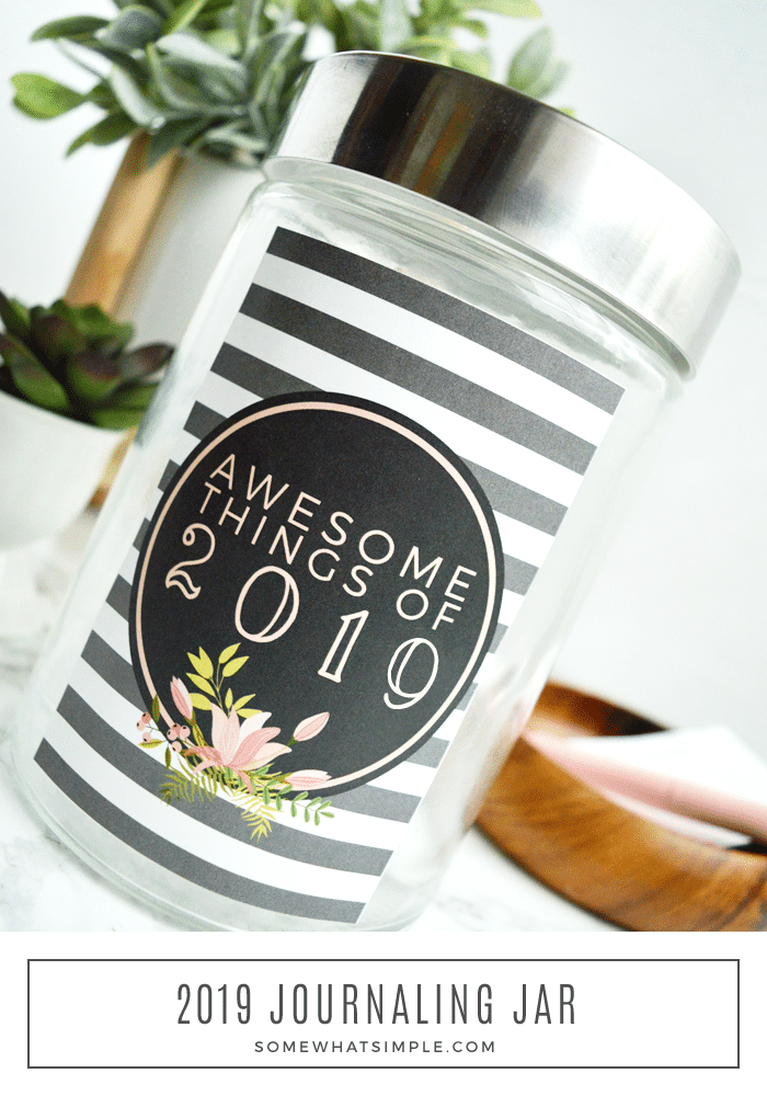 cute glass jar with printable attached to it to make the perfect family journal jar