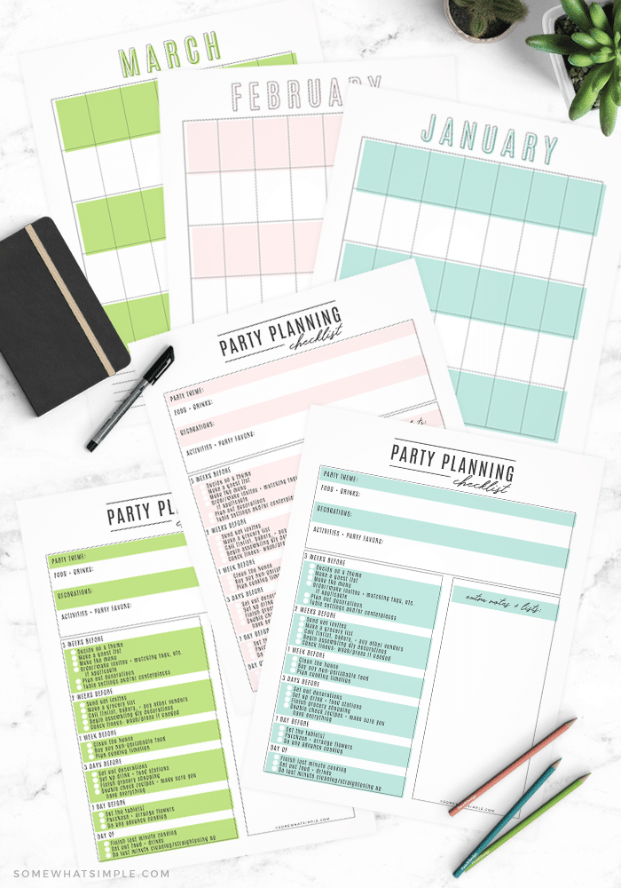 party planning checklist with free printable calendar