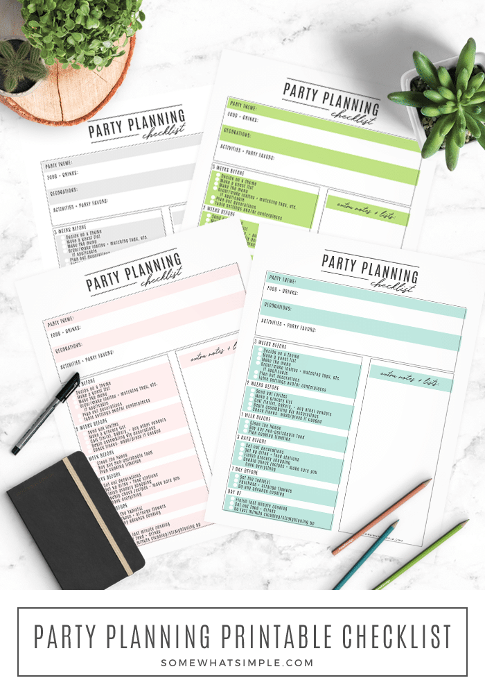 party planning printable checklist how to diy tips tricks hacks easy simple helpful blank fillable free download color colorful pastel