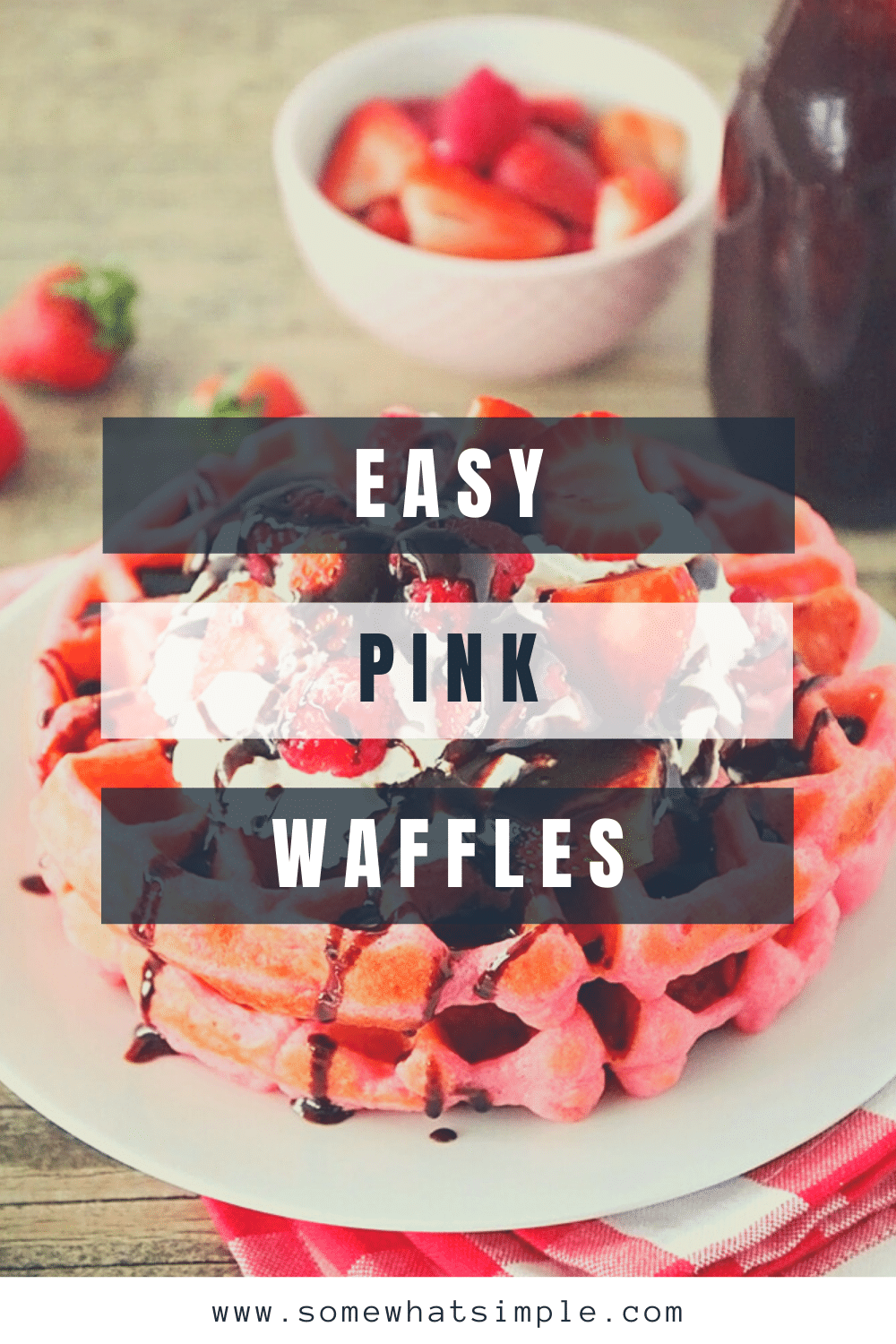 These pink velvet waffles are so fun for Valentine's Day, and so quick and easy to make! Who would love a delicious pink waffle to celebrate any romantic occasion. These waffles turn out soft and fluffy every time! via @somewhatsimple